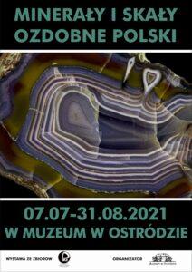 plakat promujący wystawę minerały i skały ozdobne polski